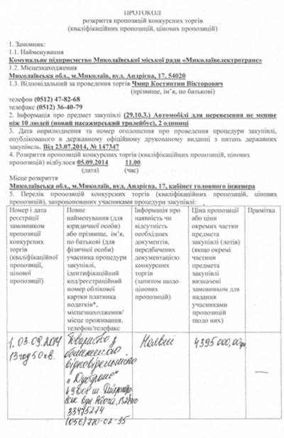 Николаев закупил два новых троллейбуса за 3,6 миллиона гривен