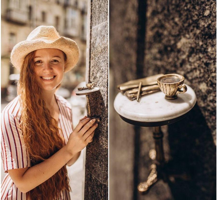 Столик, на котором стоит чашечка кофе и лежат карандаш с газетой, расположился на улице Большая Житомирская, 20