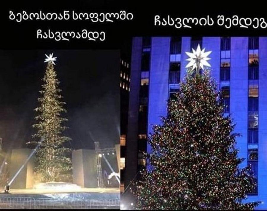 «Лысую» новогоднюю елку в Тбилиси высмеяли фотожабами